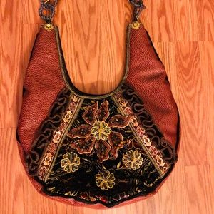 Mary Francis Exquisitely Beaded Leather Tote.